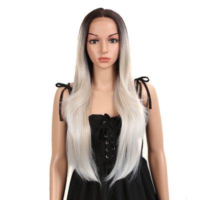 Easy 360 Synthetic Lace Front Wig | 28 Inch Long Straight |Platinum | Agatha by Noble - Noblehair