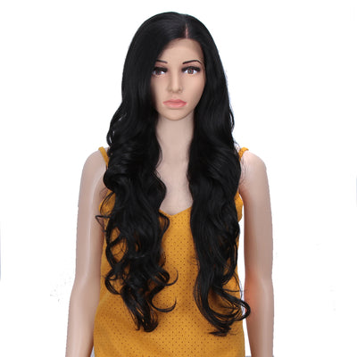 Easy 360 Synthetic HD Lace Frontal Wig | 28 Inch Long  Wavy Black Wig | Queen by Noble - Noblehair