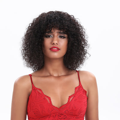 NOBLE Kinky Curly Human Hair Wigs with Curly Bangs|Afro Curl Wigs for Black Women |14 Inch Virgin Remy Natural Black Wig Can Be Dyed - Noblehair