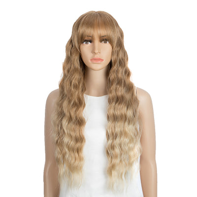Synthetic Long Wavy Lace front Wig with Bangs | 28 Inch Synthetic HD Lace wigs | Chestnut Blonde | Angelica by Noble - Noblehair