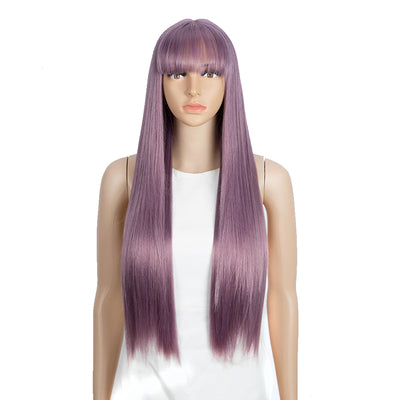 Synthetic Long Straight Lace front Wig with Bangs | 28 Inch Synthetic HD Lace wigs | Ash Purple | Brittany by Noble - Noblehair