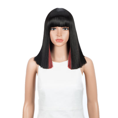 NOBLE Synthetic Behind Ear Dyed Hair Wig | 13 Inch Blunt Cut Bob Wigs with Bangs | Dyed Red Color Behind Ear Avril - Noblehair