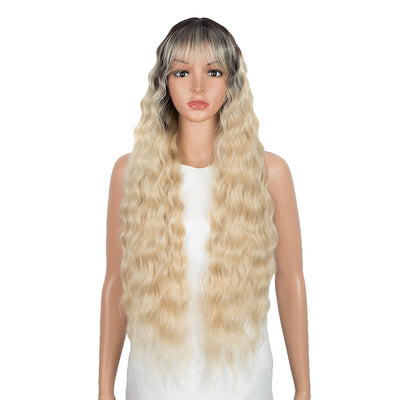 Synthetic Long Wavy Wig with Bangs | 30 Inch Synthetic Curly Loose wigs | Cream Blonde Color | Craib by Noble - Noblehair