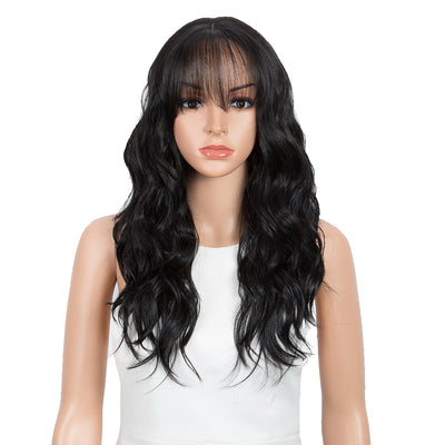 Synthetic Long Wavy Lace front Wig with Bangs | 20 Inch Synthetic HD Lace wigs | Natural Black | Chloe by Noble - Noblehair