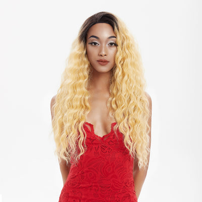 13*4 Synthetic Lace Frontal Wigs | 26.5 Inch Curly Wave Gold Blonde Wig | Willow by Noble - Noblehair