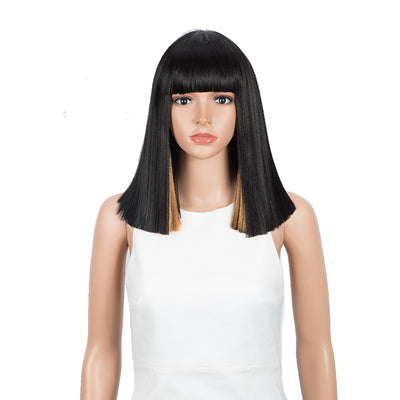 NOBLE Synthetic Behind Ear Dyed Hair Wig | 13 Inch Blunt Cut Bob Wigs with Bangs | Dyed Orange Color Behind Ear Avril - Noblehair