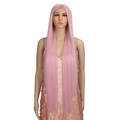 Synthetic Lace Front Wigs |38 inch Super Long Straight Lace Wig Preplucked | PINK Wig - Noblehair