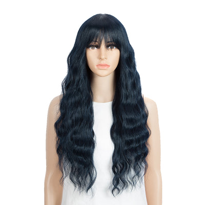 Synthetic Long Wavy Wig with Bangs | 26 Inch Non Lace Loose wigs | Blue Black Color | CARLA by Noble - Noblehair
