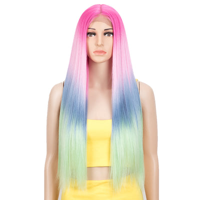 Synthetic Lace front Middle Part Wig | 30 Inch long straight Wig | Hot Pink Rainbow Wig HEADLINE by NOBLE - Noblehair
