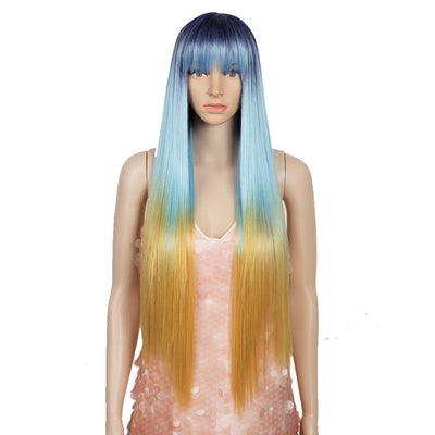 Synthetic Non Lace Wig | 32 Inch long straight Wigs with Bangs | Ombre Bule Orange Color Wig JOYO by NOBLE - Noblehair