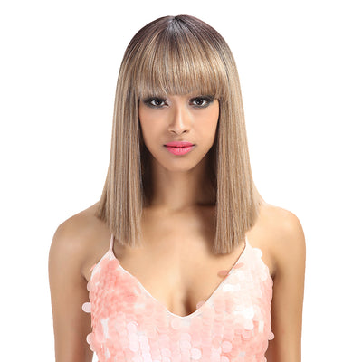 Synthetic Non Lace Wig | 13 Inch Blunt Cut Bob Wigs with Bangs | Brown Blonde Wig Avril by NOBLE - Noblehair