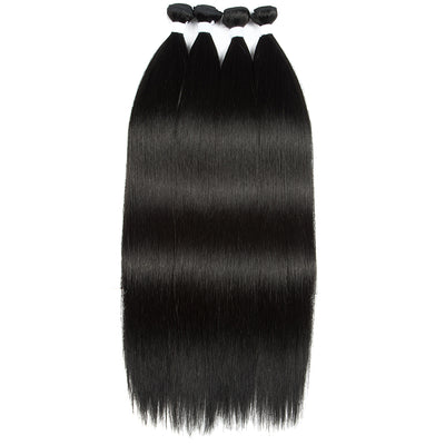 Noble Synthetic Hair Extensions | Hair Weave Bundles 4 Pieces | 24 Inch Straight Hair Bundles 6 Colors - Noblehair
