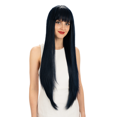 NOBLE Synthetic Non Lace Wig | 32 Inch long straight Wigs with Bangs | Bule Black Color Wig JOYO - Noblehair