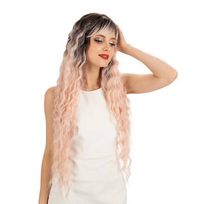NOBLE Synthetic Long Wavy Wig with Bangs | 30 Inch Synthetic Curly Loose wigs | Cream Pink Color | Craib - Noblehair