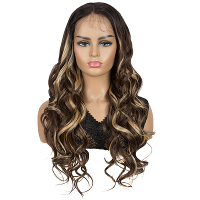 Easy 360 Synthetic HD Lace Frontal Wigs For Women | 29 Inch Loose Wave | Ombre Browm Face Frame Color Arika by Noble - Noblehair