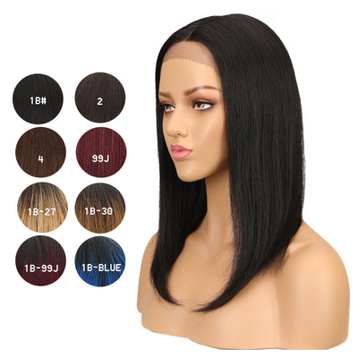 NOBLE Human Hair Lace Front Wig | 16 Inch Lob Straight Hair | Natural Black | F Page - Noblehair