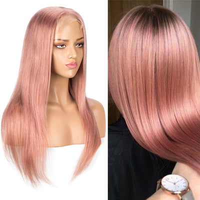 NOBLE 4*4 Lace Frontal Wigs Human Hair HD Lace| Straight Colorful Human Hair Wigs Pre-Plucked With Baby Hair | 10 -20 inch Gery Pink Wigs - Noblehair