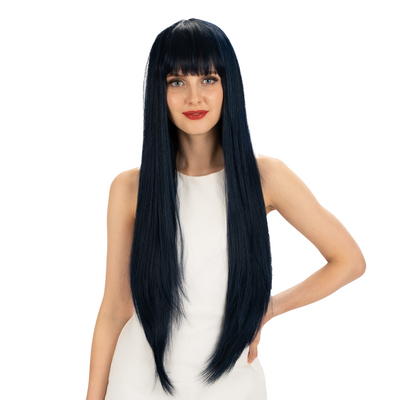 NOBLE Synthetic Long Straight Lace front Wig with Bangs | 28 Inch Synthetic HD Lace wigs | Blue Black | Brittany - Noblehair