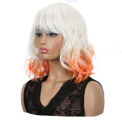 NOBLE Synthetic Non Lace Wig | Natural Wave 12 inches Short Curly BOB Hair Wigs | Ombre White Orange Wig GEMMA - Noblehair