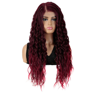 Easy 360 Synthetic HD Lace Frontal Wigs | 28 Inch Long Curly Burgundy Wig | Sophisticate - Noblehair
