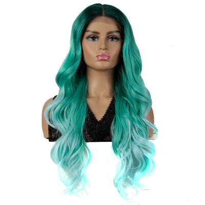 NOBLE Easy 360 Synthetic HD Lace Frontal Wigs For Women| 29 Inch Loose Wave | Light Blue Arika - Noblehair