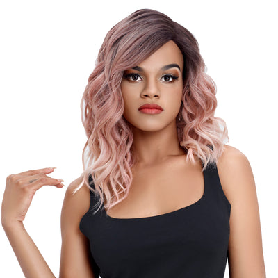 Synthetic Lace Front Wig | 18 Inch Wavy Lob | Rose Pink | Capri by Noble - Noblehair