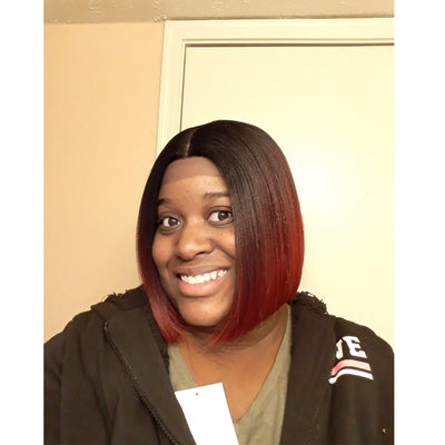 Alia | Synthetic Short BOB Lace Front Wig |9.5 Inch Blunt Cut Bob Wig |Ombre Red Wig By Noble - Noblehair