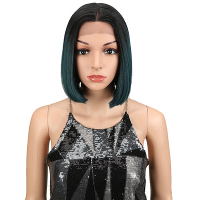 Alia | Synthetic Short BOB Lace Front Wig |9.5 Inch Blunt Cut Bob Wig | Ombre Green Wig By Noble - Noblehair