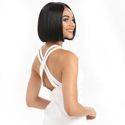 Alia | Synthetic Short BOB Lace Front Wig |9.5 Inch Blunt Cut Bob Wig |1B by Noble - Noblehair