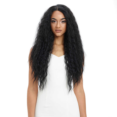 Easy 360 Synthetic Lace Front Wig | 29 Inch Curly Wave | Natural Black | Aurora by Noble - Noblehair