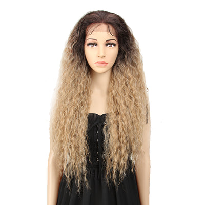 13*4 Synthetic Lace Frontal Wigs | 30 Inch Curly Wave Dirty Blonde Wig | Beyonce by Noble - Noblehair