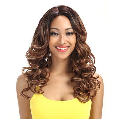 Betty丨Synthetic Lace Front Wigs For Women丨22 Inch Wave Curls Ombre Brown Wig - Noblehair
