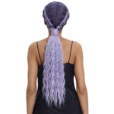 Synthetic Single Crossing Deep Lace part | 22 Inch Curly  Box Braids Lace Front Purple Wigs - Noblehair
