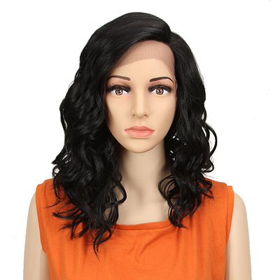 Synthetic Lace Front Wig | 18 Inch Wavy Lob | Classic Black | Capri by Noble - Noblehair