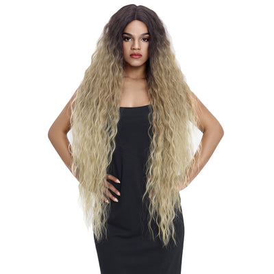 Bohemian丨Synthetic Lace Front Wigs丨41 Inch Super Long Wavy Ash Blonde Wig by Noble - Noblehair