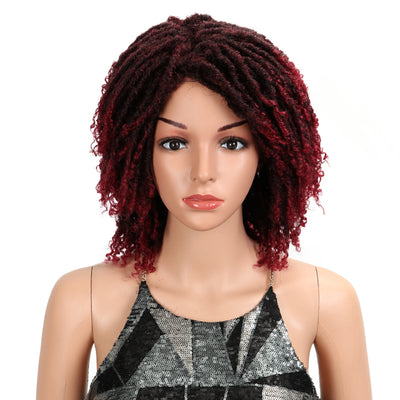 Synthetic Afro Wigs For Black Women | 13 Inch Dreadlocks Ombre Red Wig | Diana by Noble - Noblehair