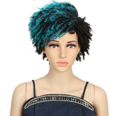 Synthetic Afro Wigs For Black Women | 9.5 Inch Short Dreadlocks | Blue Highlight | RJO by Noble - Noblehair