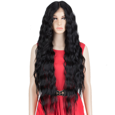 EDGRA | Easy 360 Synthetic Lace Front Wigs | 31 inch Long Water Wave Wig| E+U Lace Part Black Wig - Noblehair
