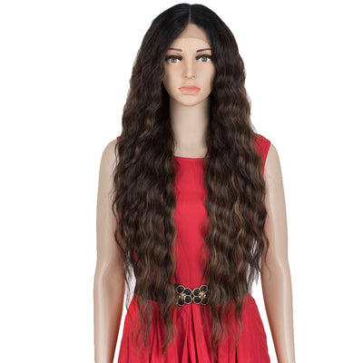 EDGRA | Easy 360 Synthetic Lace Front Wigs | 31 inch Wavy Wig| E+U Lace Part Mixed Brown Wig - Noblehair