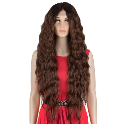 EDGRA | Easy 360 Synthetic Lace Front Wigs | 31 inch Long Water Wave Wig| E+U Lace Part Chesnut Wig - Noblehair