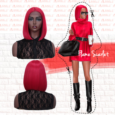 Synthetic Lace Front Wig | 11 Inch  Colorful Bob | Flame Scarlet | L Alia By Noble - Noblehair
