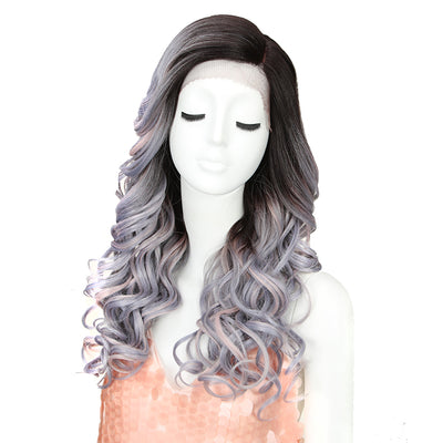 Synthetic Lace Front Wig | 22 Inch Tousled Wave | Granny Grey | H Helen by Noble - Noblehair
