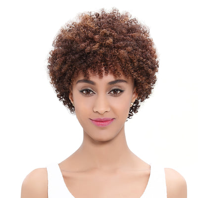 Human Hair Wigs |9.5 Inch Short Afro Curly Pixie Cut Blonde Wigs | Nancy by Noble - Noblehair