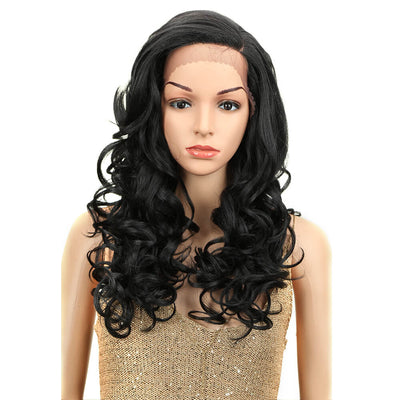 Betty丨Synthetic Lace Front Wigs For Women丨22 Inch Wave Curls Black Wig - Noblehair