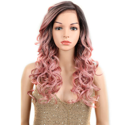 Betty丨Synthetic Lace Front Wigs For Women丨22 Inch Wave Curls Pink Wig - Noblehair