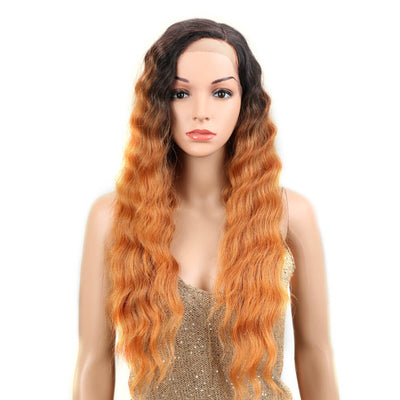 Enya丨Synthetic Side Part Lace Front Wigs For Women丨28 Inch Body Wave Ombre Godlen Wig - Noblehair