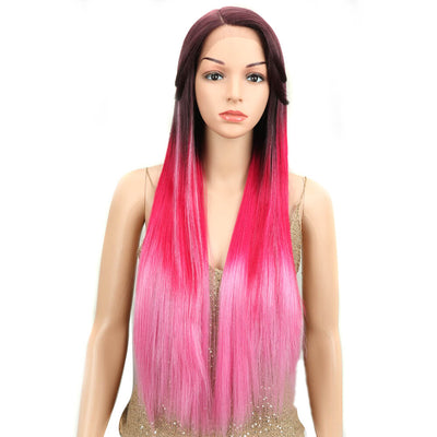 "Nicole丨Synthetic 5"" Side Part Lace Front Wigs丨31 Inch long straight Ombre Hot Pink Wig - Noblehair"