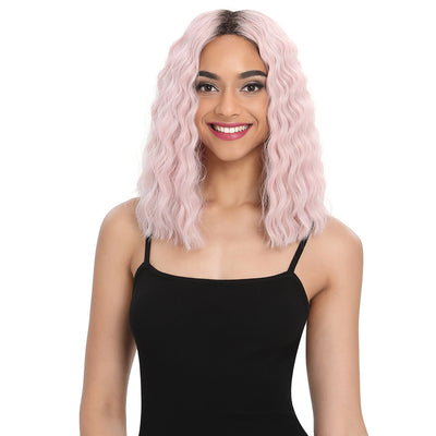 Synthetic Lace Wig | 13.5 Inch Over Shoulder Wave | Pink Color | Rachel by Noble - Noblehair