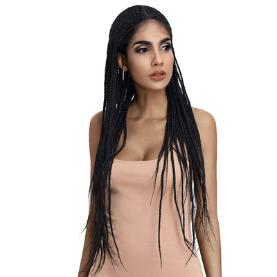 33 Inch Long Box Braided Wigs 13*7 Synthetic Lace Frontal Wig   | Black Color - Noblehair