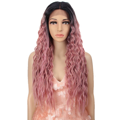 Synthetic Lace Front Wigs For Women | 27 Inch Curly Wave Coral Pink Wig | Jully by Noble - Noblehair